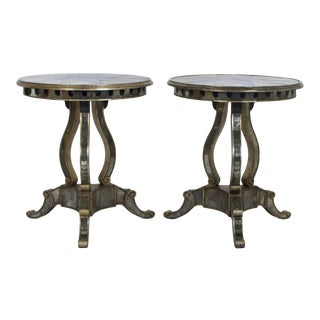 Round Mid-Century Mirrored Tables - A Pair For Sale