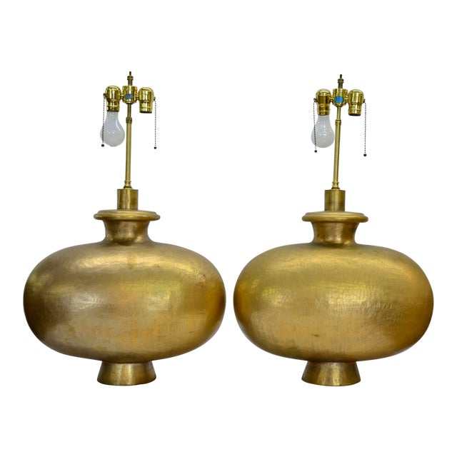 Mid Century Modern Copper Repousse Lamps - a Pair For Sale