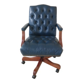 Ethan Allen Tufted Blue Leather Office Desk Chair For Sale