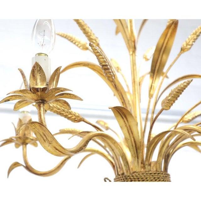 Gold Gilt Metal Cattail Sheaf Light Fixture Chandelier For Sale - Image 4 of 9