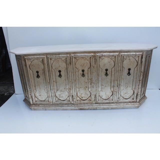 Hollywood Regency Silver Leaf Gabinet & Marble Top - Image 3 of 11