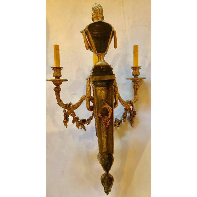 Pair of French Louis XVI Style Dore Bronze Sconces With Foundry Name For Sale - Image 12 of 13