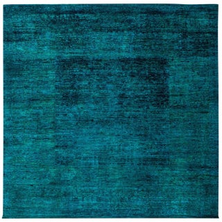 "Teal Overdyed Hand-Knotted Wool Rug - 8'2"" X 8'2"""