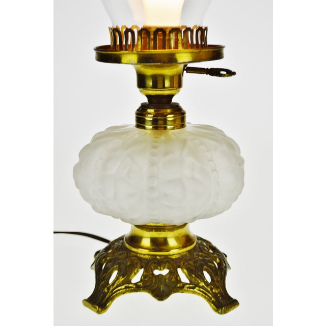 Traditional Vintage Electrified Frosted Glass Oil Lamp For Sale - Image 3 of 13