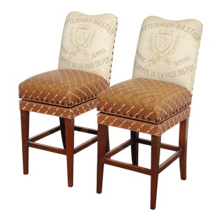 Pair Designer French Country Burnt Orange Bar Stools ~ Estate of Dave Mustaine For Sale