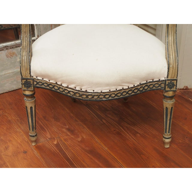 Early 19th Century PAIR OF LOUIS XVI PAINTED FAUTEUILS For Sale - Image 5 of 11
