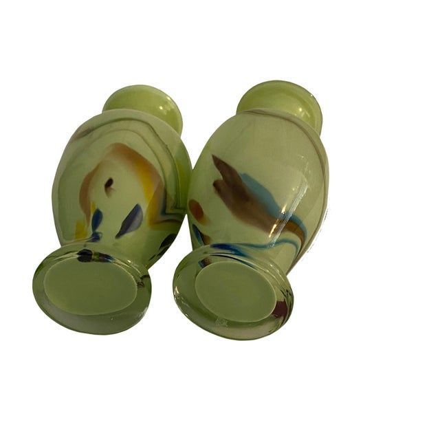 Mid 20th Century Mid Century Art Glass Green Vases - a Pair For Sale - Image 5 of 6