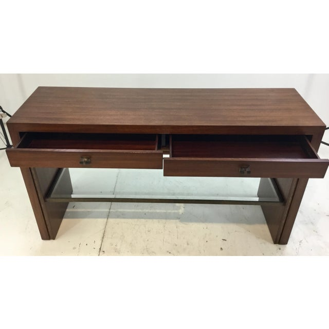 Modern Henredon Modern Mahogany Finished Wood Venue Console Table For Sale - Image 3 of 6