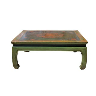 Chinese Distressed Lime Green Flower Graphic Square Coffee Table For Sale