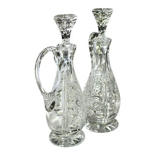 Cut Crystal Oil & Vinegar Decanters