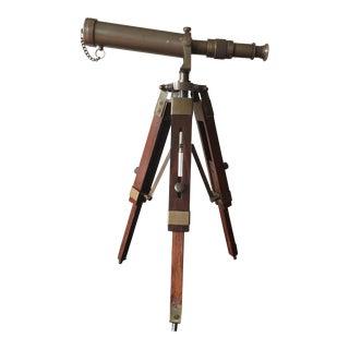 Vintage Decorative Desktop Brass Wood Telescope