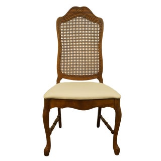 Late 20th Century Vintage Bernhardt Furniture French Provincial Cane Back Dining Side Chair For Sale