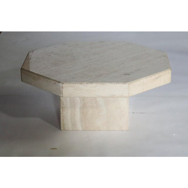 Trio of Travertine Tables With Hexagon Shape-Tops For Sale In Chicago - Image 6 of 9