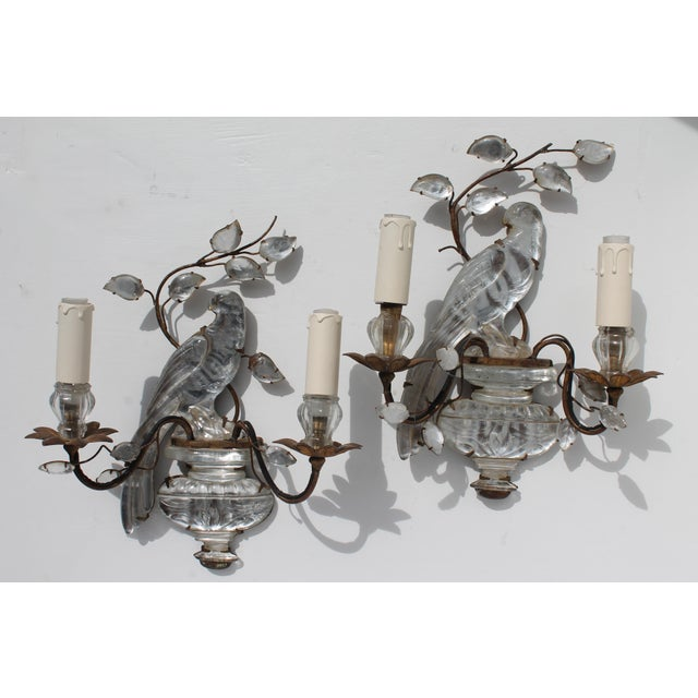 French Art Deco C1920s Authentic Maison Bagues Bronze Framed Crystal Parrot Sconces For Sale - Image 11 of 11