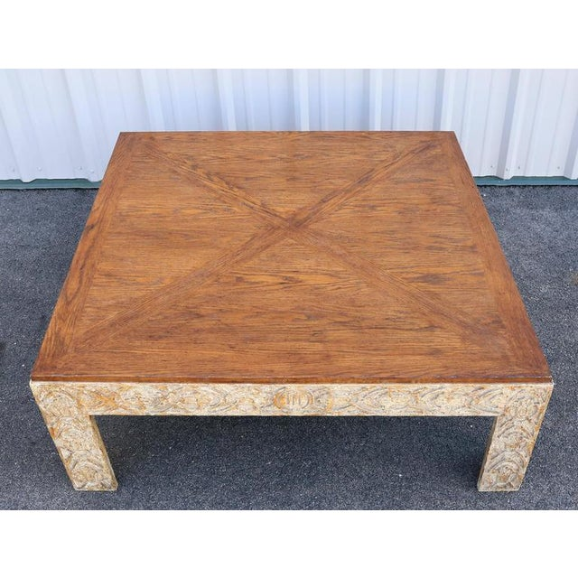 Parquetry Top Painted Square Coffee Table For Sale - Image 5 of 9