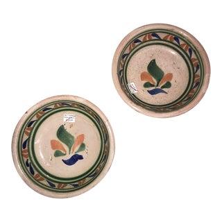 Vintage Mexican Ceramic Pozole Bowls Hand Painted Multi-Color Flower Design - a Pair For Sale
