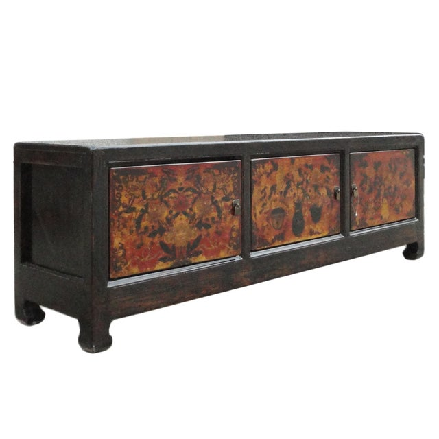 Chinese Vintage Low Graphic Tv Console Cabinet - Image 4 of 6