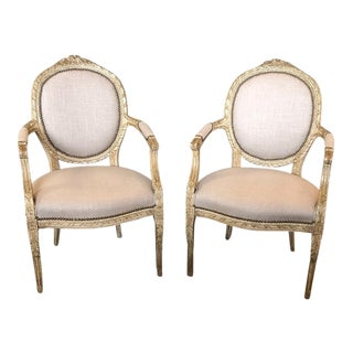 19th Century Antique French Louis XVI Style Balloon Back Fauteuils - A Pair For Sale