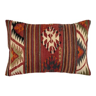 """Rustic Red Vintage Kilim Lumbar Pillow 