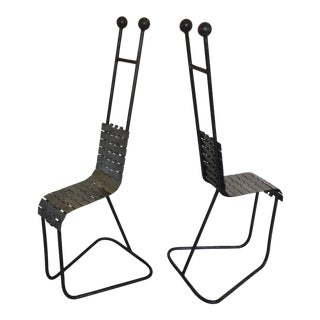 1980s Post Modern Iron Sculptural Industrial Chairs - A Pair For Sale