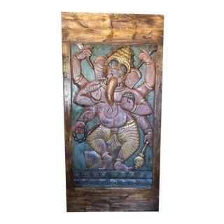 Vintage Ganesha Hand Carved Barn Door Panel For Sale