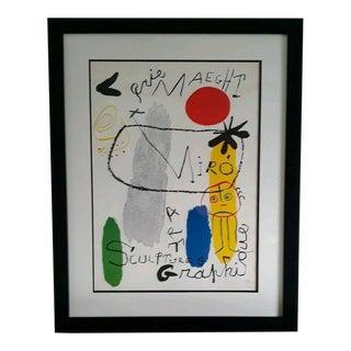 """Surrealist Joan Miro """"Sculpture-Art Graphique"""" Lithographic Poster, 1959 For Sale"""