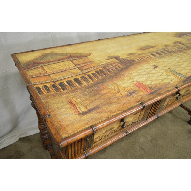 Faux Bamboo Chinese Hand Painted Large Faux Bamboo Hall Table or Sideboard For Sale - Image 7 of 11