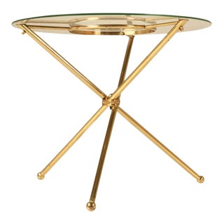 French Brass & Glass Neoclassical Table For Sale