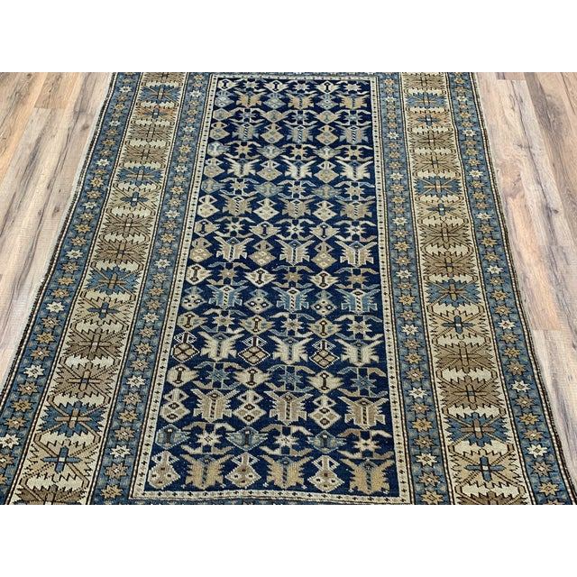 Late 19th Century Antique Russian Caucasian Rug- 3′10″ × 5′3″ For Sale - Image 4 of 11