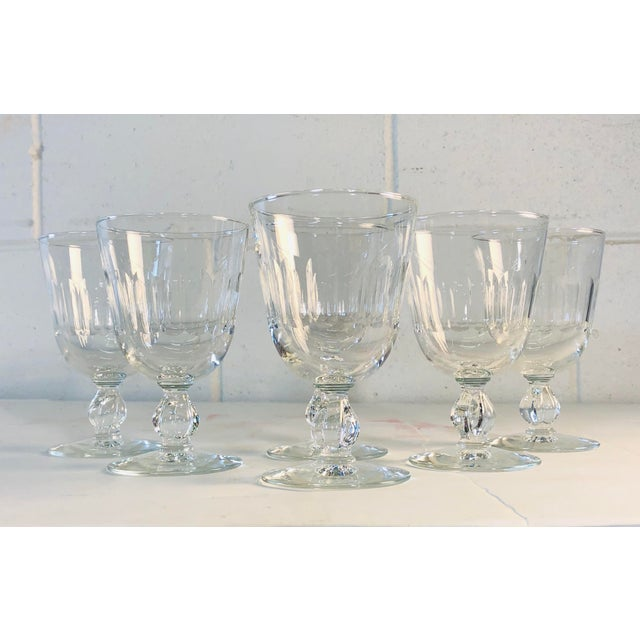 1950s set of 6 mitred glasses wine stems. All hand cut and polished. No marks. Excellent condition.