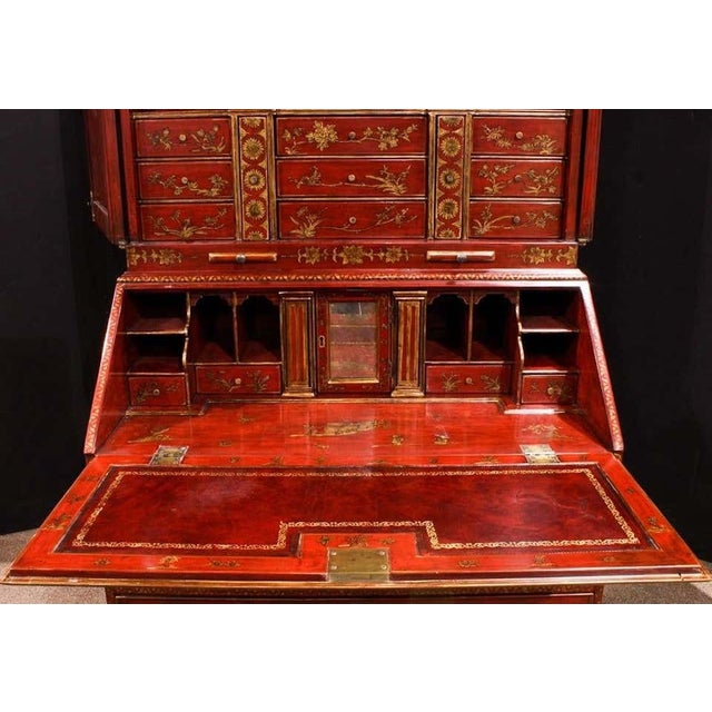 Mid 20th Century George III Style Chinoiserie Red Lacquered Secretary Bookcase For Sale - Image 4 of 8