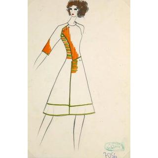 Vintage Paris Fashion Drawing - Mod Coat Dress, C. 1980 For Sale
