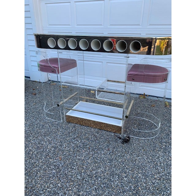 Hill Manufacturing Co. Vintage Charles Hollis Jones Lucite Bar and Stools For Sale - Image 4 of 10