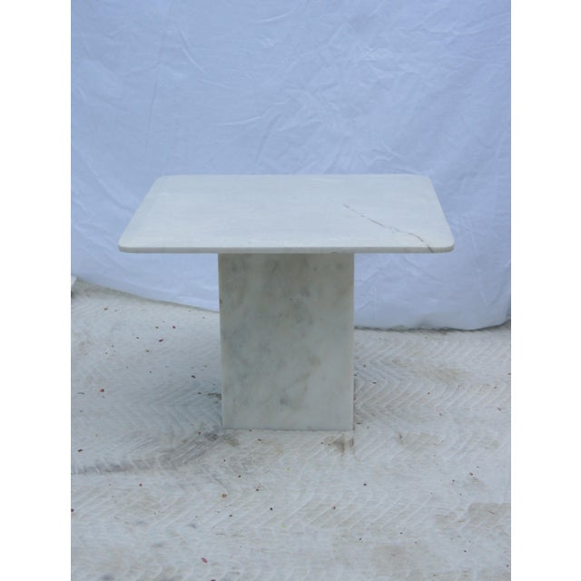 Mid-Century Modern Italian Carrara Marble Square End Table For Sale - Image 11 of 11