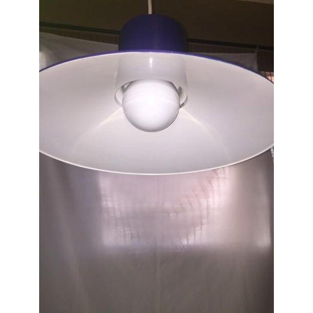 Lightolier 1960s Danish Modern Bright Blue Lightolier Hanging Pendant Lamp (2 Available) For Sale - Image 4 of 9