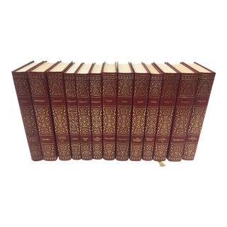 Decoartive Book Lot Great Russian Literature 13 Volumes Red & Gold For Sale