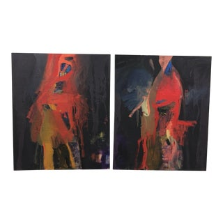 Contemporary Abstract Diptych Oil Paintings by Al Saif - a Pair For Sale