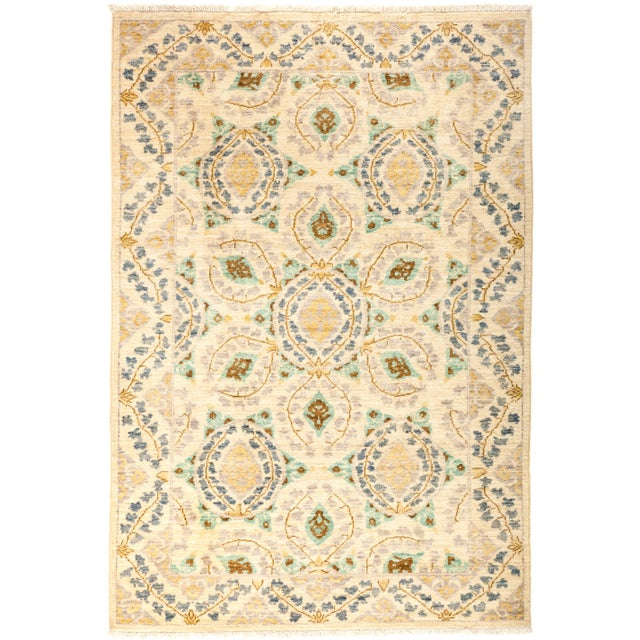 "Suzani Hand Knotted Area Rug - 4' 1"" X 6' 0"" - Image 4 of 4"