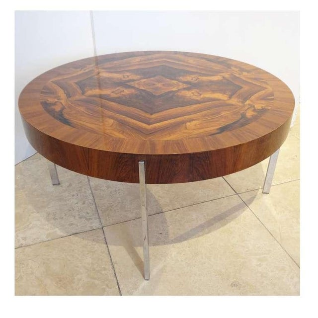 Mid-Century Modern Modernist Round Cocktail Table in Walnut and Chrome, France Circa 1965 For Sale - Image 3 of 4