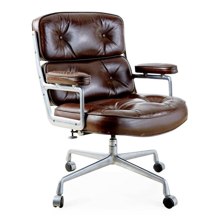 Herman Miller Brown Leather Time Life Executive Desk Chair By Charles Eames  For Herman Miller For