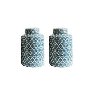 Pair of Hand Painted Celadon Lidded Ceramic Jars For Sale