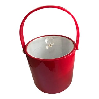 Mid-Century Red Lucite Shelton Ware Ice Bucket For Sale