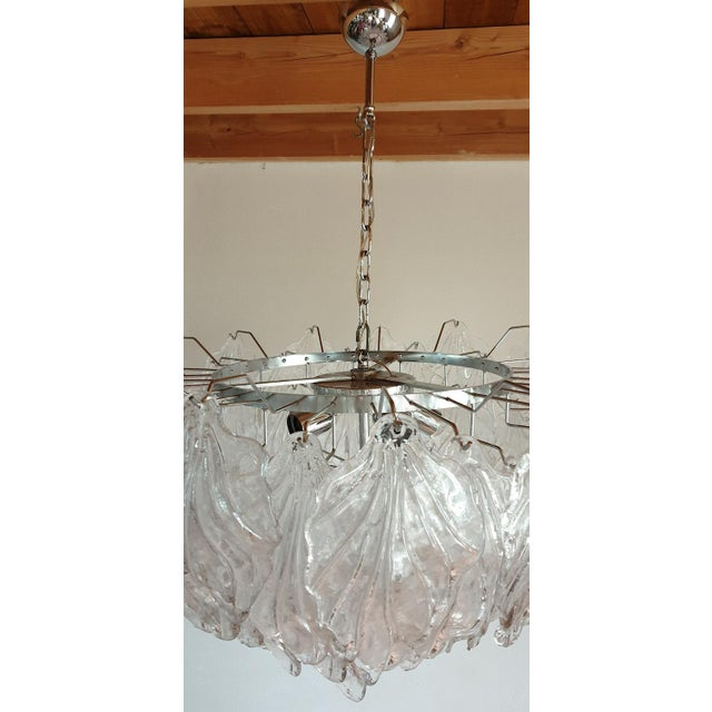 1970s Mid Century Modern Murano Glass Leaves Chandelier For Sale In Boston - Image 6 of 11