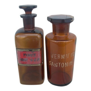 Antique Traditional Amber Glass Pharmacy Bottles - Set of 2 For Sale