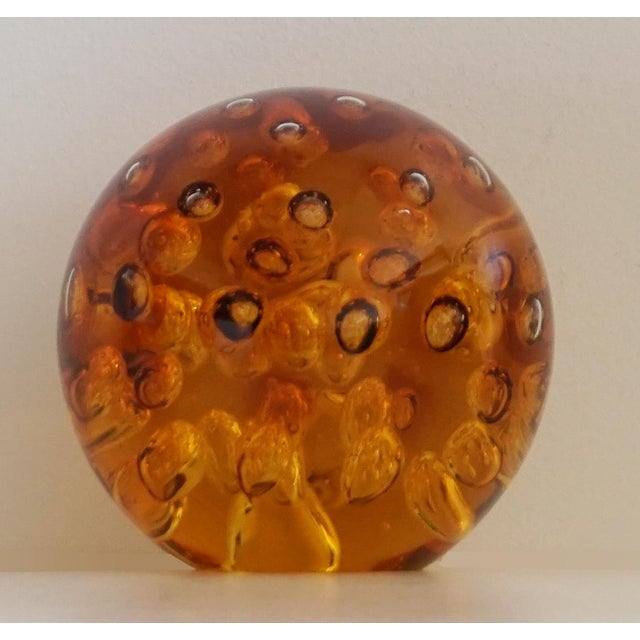 Amber Controlled Bubble Glass Orb - Image 3 of 5