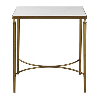 Marble Top Brass End Table