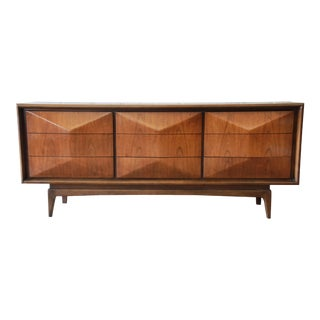 Vladimir Kagan Style Walnut Diamond Front Long Dresser or Credenza by United
