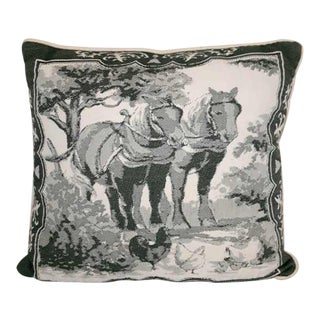 Vintage Needlepoint Horse Equestrian Pillow For Sale
