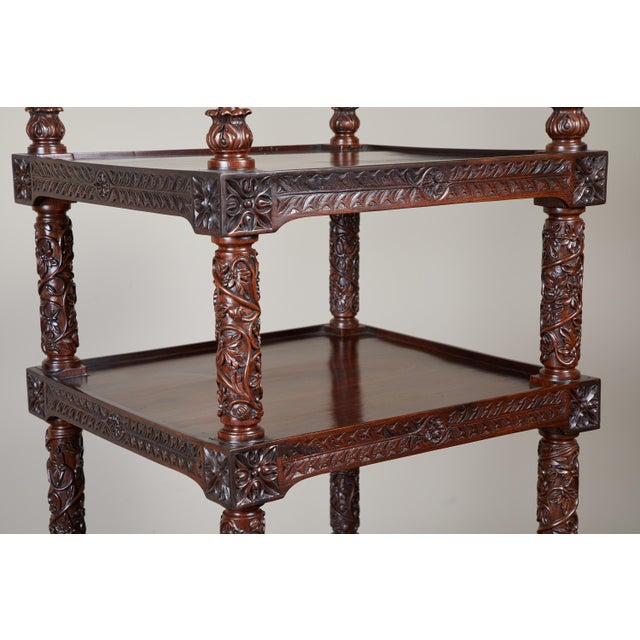 19th Century Four Tiered Rosewood Carved Etagere - Image 7 of 10