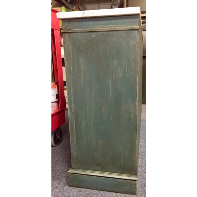 1950s Shabby Chic Marble Top Green Console Table For Sale - Image 9 of 11